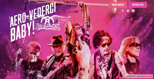 NOVEMBRE | Fin d'un autre mythe? C'est au tour d'Aerosmith de se lancer dans une tournée d'adieux baptisée #AeroVederci. Image: aerosmith.com. LIRE L'ARTICLE: https://planscultes.ch/2016/11/15/aerovederci/