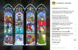 Eddie, la mascotte de Iron Maiden, en différents formats de Noël.