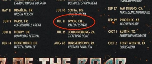 Paléo Festival figure bien au dos du t-shirt de l'ultime tournée de Kiss. Source : shopkissonline.com