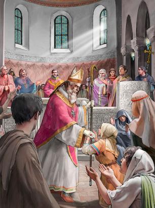 Selon la tradition, l'élection d'un évêque se faisait en présence de l'évêque métropolitain (responsable de la province ecclésiastique) et d'autres évêques, par l'accord de toute la population d'une cité: les clercs, les nobles et le peuple. 7e-8e siècle. ©Musée cantonal d'archéologie et d'histoire, Lausanne et Musée d'histoire du Valais, Sion. Dessin Cécilia Bozzoli