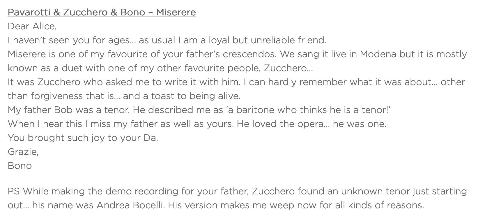 Pavarotti & Zucchero & Bono –Miserere